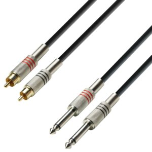 Adapter Kabel 2 x RCA Phono Han til 2 x 6,3mm Jack Mono fra Adam Hall