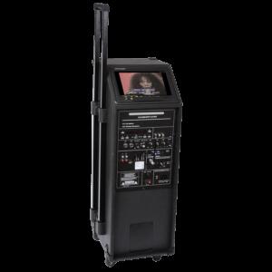 Karaoke anlæg med skærm og mikrofoner