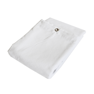 Molton bagtæppe med øjer hvidt