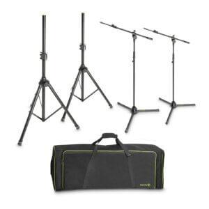 2 højttaler- og 2 mikrofonstativer med taske