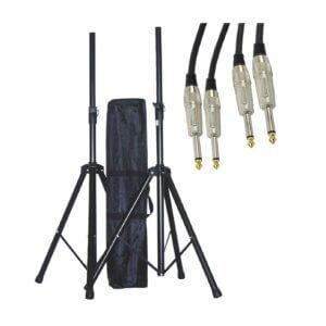 Højttalerstativer med taske og kabler (25kg/1,95m)